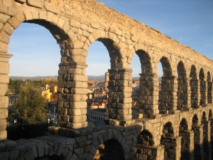 Roman aqueduct in Segovia, Spain -- remnant of a lost civilisation
