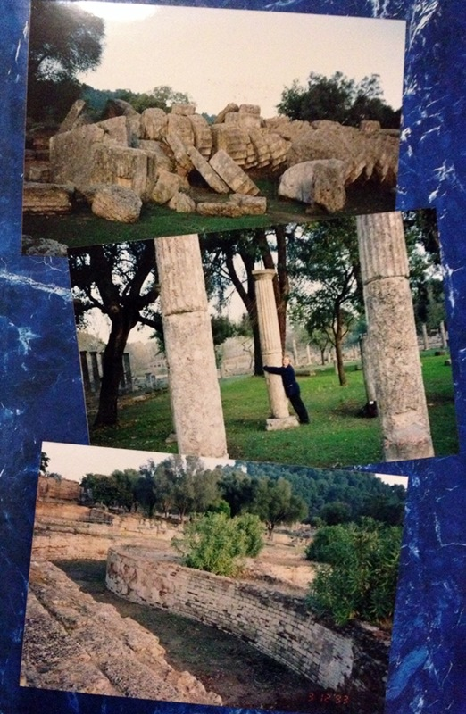 Ancient Olympia: top - fallen column from Temple of Zeus; middle - hugging a column in the Palaestra; bottom - the Leonidian.