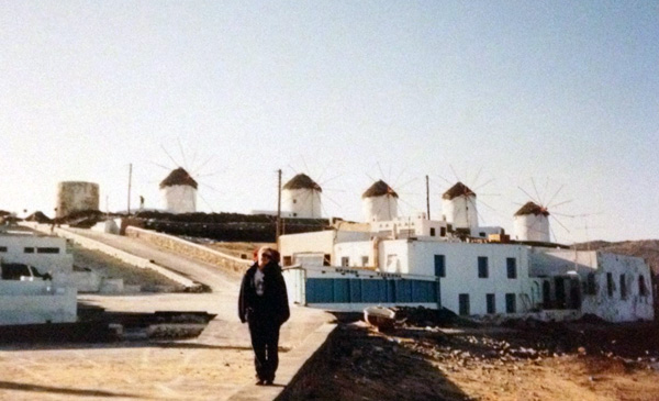 Mykonos - windmills (that's me with my full backpack)