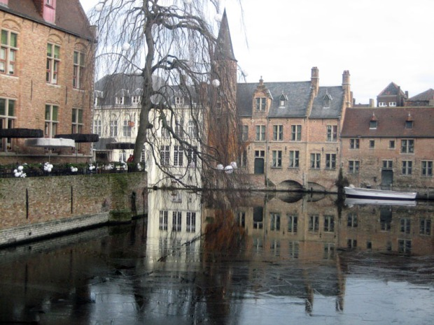 Bruges with fractured ice