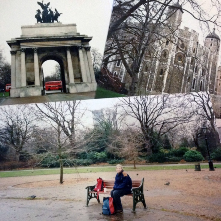 London (clockwise from top-left): Wellington's Arch, the Tower of London (the White Tower), lunch in Hyde Park (me!).