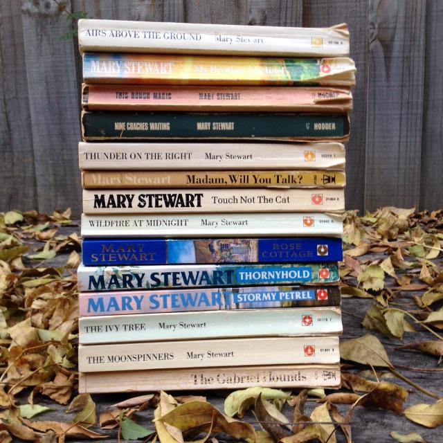 mary stewart books pile