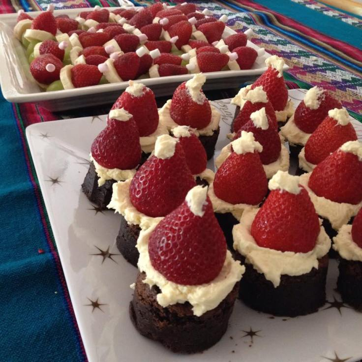 Santa brownies and fruit grinches