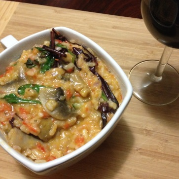 mushroom risotto (with red capsicum)
